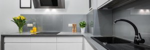 Panorama of kitchen countertops in modern and simple interior
